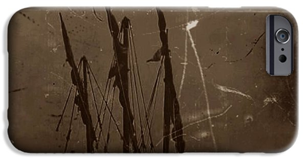 Pirate Ship Mixed Media iPhone Cases - Adrift in a Sea Mist iPhone Case by Blair Stuart