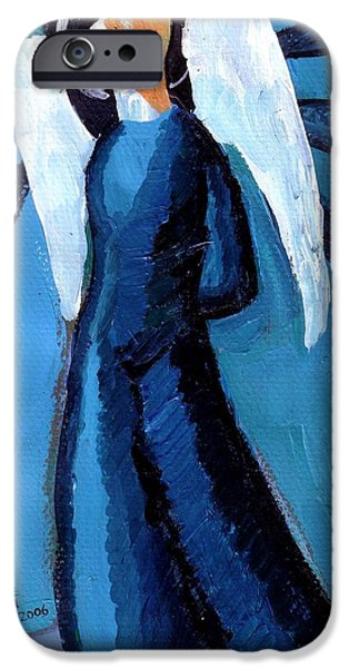 Angel Blues iPhone Cases - Adrongenous Angel iPhone Case by Genevieve Esson