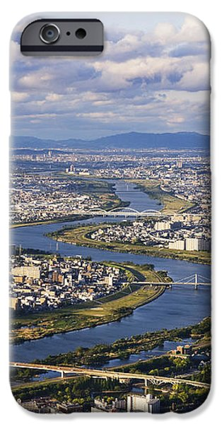 Aerial Japanese Cityscape and River iPhone Case by Jeremy Woodhouse