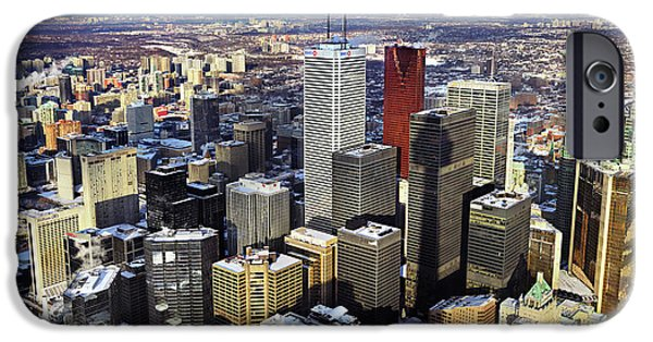 Wintertime iPhone Cases - Aerial View from CN Tower Toronto Ontario Canada iPhone Case by Oleksiy Maksymenko