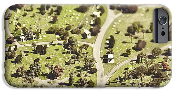 Graveyard Road iPhone Cases - Aerial View of Cemetery iPhone Case by Eddy Joaquim