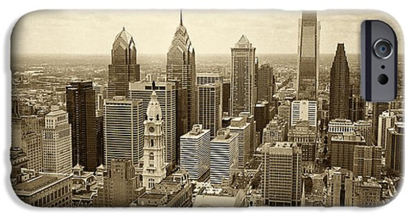Aerial View iPhone Cases - Aerial View Philadelphia Skyline Wth City Hall iPhone Case by Jack Paolini
