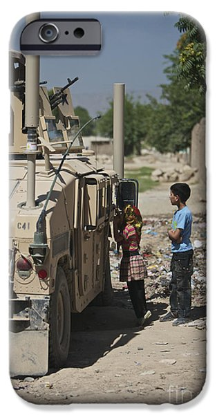 East Village iPhone Cases - Afghan Children Ask U.s. Soldiers iPhone Case by Terry Moore