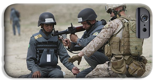 Rpg iPhone Cases - Afghan Police Students Assemble A Rpg-7 iPhone Case by Terry Moore