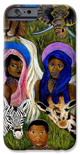 Spiritual Portrait Of Woman iPhone Cases - African Angels iPhone Case by The Art With A Heart By Charlotte Phillips