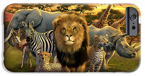 Elephants iPhone Cases - African Beasts iPhone Case by Andrew Farley