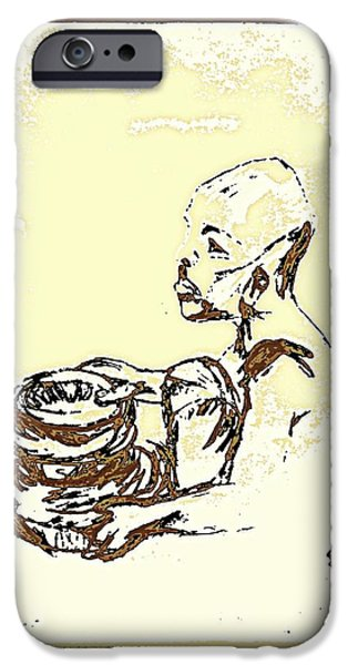 African Boy Brown iPhone Case by Sheri Parris