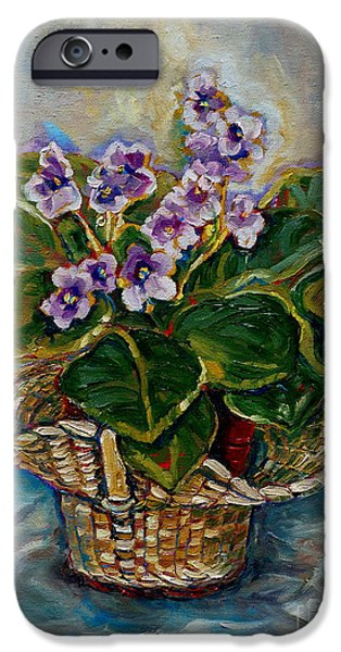 """indoor"" Still Life Paintings iPhone Cases - African Violets iPhone Case by Carole Spandau"