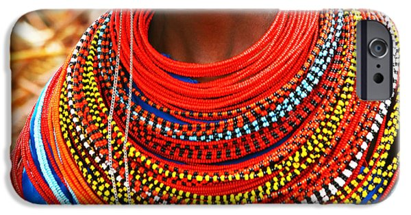 East Village iPhone Cases - African woman with traditional accessories iPhone Case by Anna Omelchenko