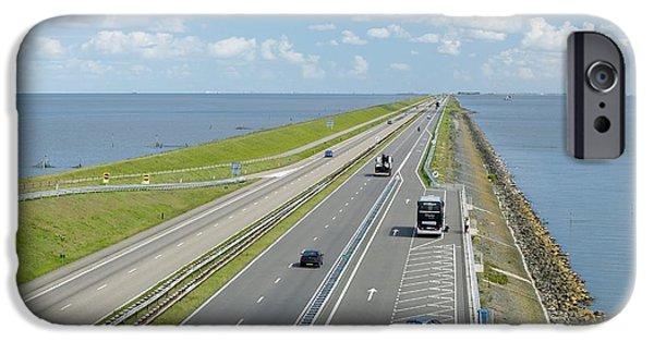 North Sea iPhone Cases - Afsluitdijk Dike, Netherlands iPhone Case by Colin Cuthbert