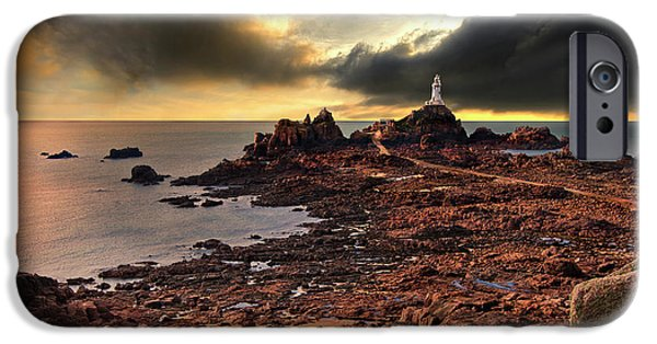 Lighthouse iPhone Cases - after the storm at La Corbiere iPhone Case by Meirion Matthias