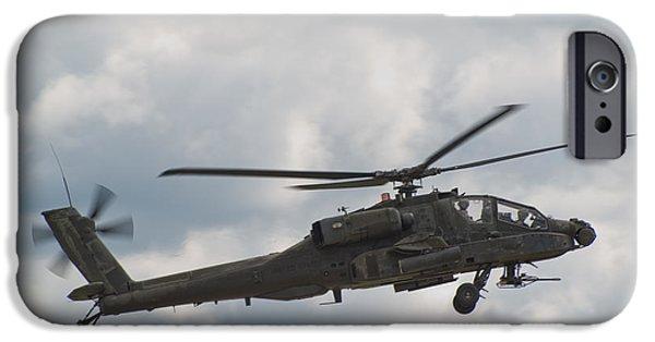 Air Photographs iPhone Cases - AH-64 Apache iPhone Case by Sebastian Musial