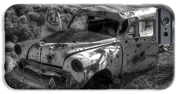Rusted Cars iPhone Cases - Air Conditioned By Bullet iPhone Case by Bob Christopher