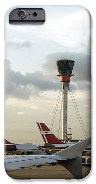 United Airlines Passenger Plane iPhone Cases - Air Traffic Control Tower, Uk iPhone Case by Carlos Dominguez