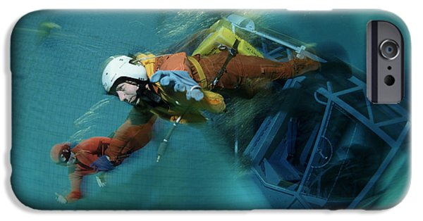 Free-diver iPhone Cases - Aircraft Water Crash Simulation iPhone Case by Alexis Rosenfeld