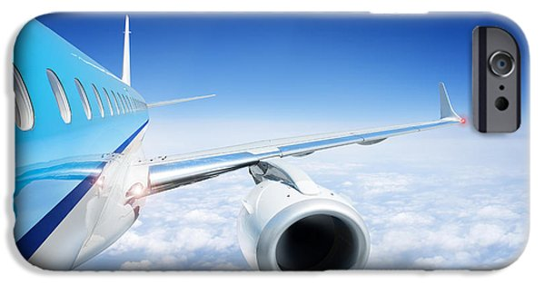 Electrical Equipment Photographs iPhone Cases - Airliner In Flight Above The Clouds iPhone Case by Corepics