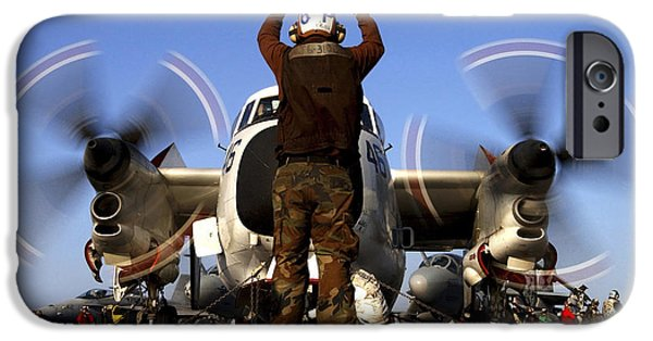 Raised Image iPhone Cases - Airmam Instructs The Pilots Of A C-2a iPhone Case by Stocktrek Images