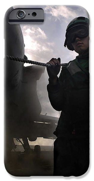 Airman Holds Up The Safety Shot Line iPhone Case by Stocktrek Images