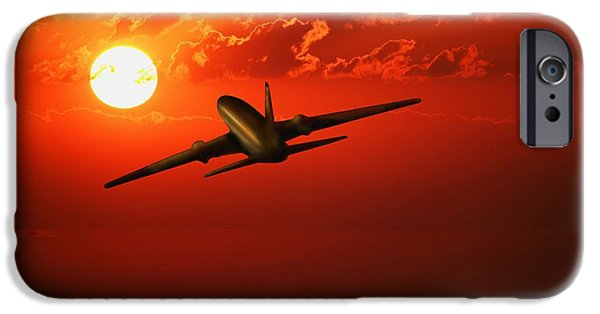 Destiny iPhone Cases - Airplane Flying In Sunrisesunset iPhone Case by Don Hammond