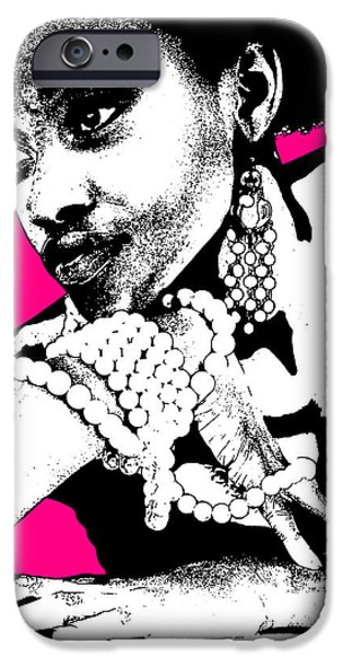 Africans iPhone Cases - Aisha Pink iPhone Case by Naxart Studio
