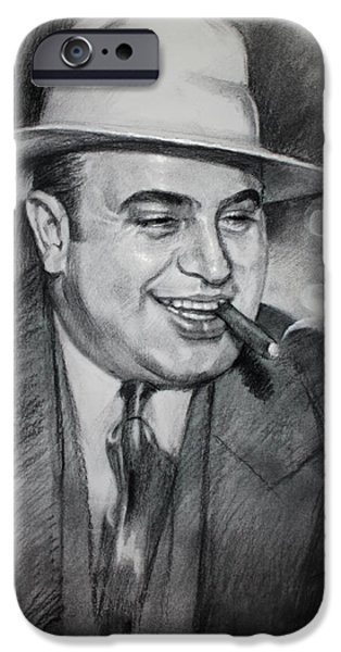 Smoking iPhone Cases - Al Capone  iPhone Case by Ylli Haruni