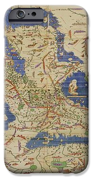 Al Idrisi World Map 1154 iPhone Case by SPL and Photo Researchers