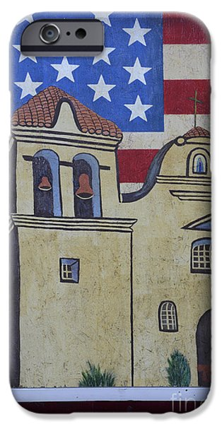 American Flag iPhone Cases - Alamo Mural iPhone Case by Bob Christopher