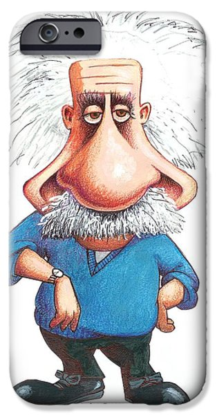 Relativity iPhone Cases - Albert Einstein, Caricature iPhone Case by Gary Brown