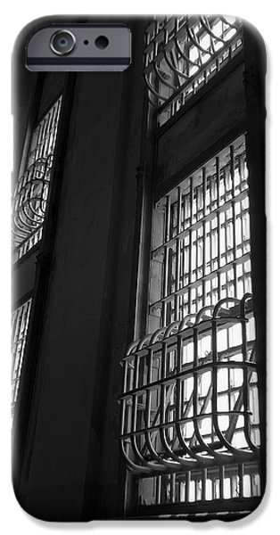 Alcatraz iPhone Cases - Alcatraz Federal Penitentiary Cell House Barred Windows iPhone Case by Daniel Hagerman