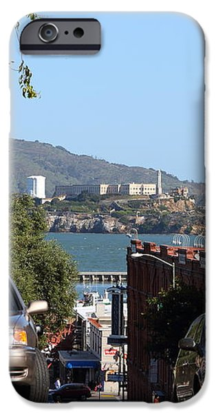 Alcatraz Island Through The Hyde Street Pier in San Francisco California . 7D13973 iPhone Case by Wingsdomain Art and Photography