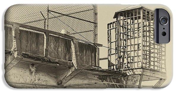 Alcatraz iPhone Cases - ALCATRAZ RECREATION YARD GUARD CAGE and GUN WALK iPhone Case by Daniel Hagerman