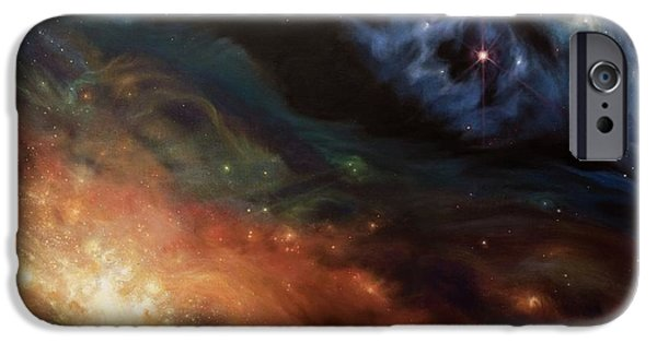 Deep Space Art Paintings iPhone Cases - Alchemy of Light iPhone Case by Lucy West