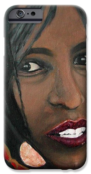 Ethiopian Woman iPhone Cases - Alem E. W. iPhone Case by Anna Ruzsan