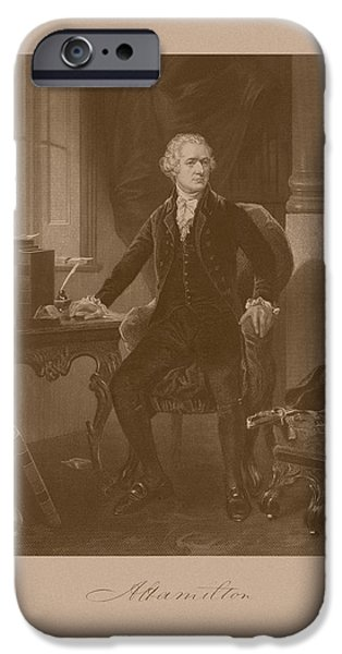 Politician iPhone Cases - Alexander Hamilton Sitting At His Desk iPhone Case by War Is Hell Store