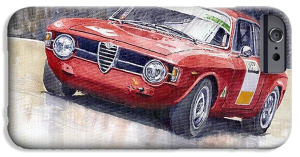 Retro iPhone Cases - Alfa Romeo Giulie Sprint GT 1966 iPhone Case by Yuriy  Shevchuk