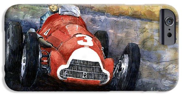 Racing iPhone Cases - Alfa Romeo158 British GP 1950 Luigi Fagioli iPhone Case by Yuriy  Shevchuk