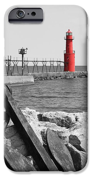 Algoma Lighthouse is Anchored iPhone Case by Mark J Seefeldt