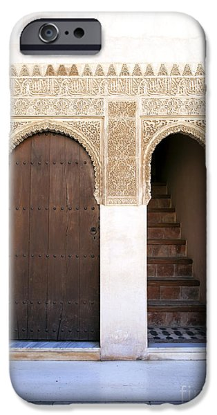 Religious iPhone Cases - Alhambra door and stairs iPhone Case by Jane Rix