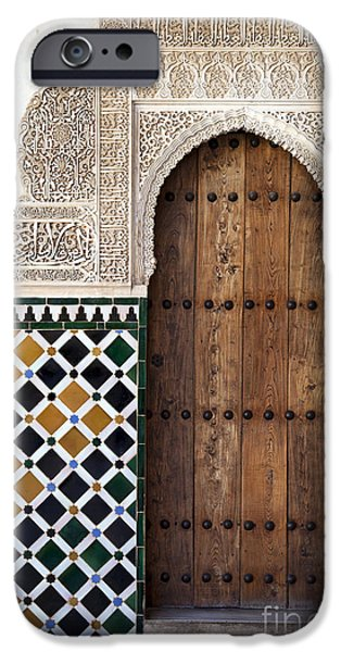 Engraving iPhone Cases - Alhambra door detail iPhone Case by Jane Rix
