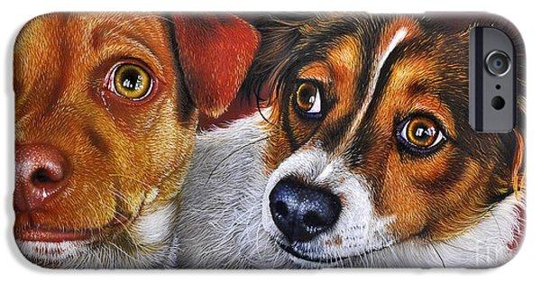 Puppy Paintings iPhone Cases - ALI and ILU iPhone Case by Jurek Zamoyski