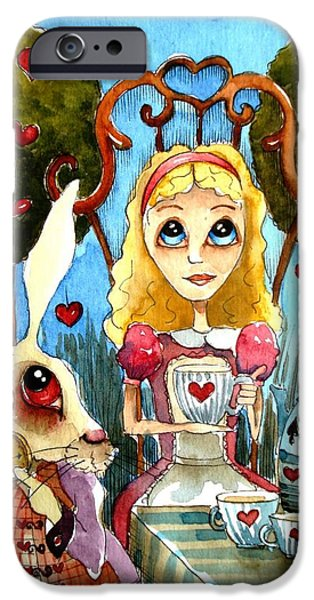 Alice and the rabbit having tea... iPhone Case by Lucia Stewart