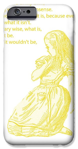 Alice iPhone Cases - Alice in Wonderland - If I had a world of my own iPhone Case by Nomad Art And  Design