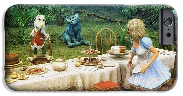Tea Party iPhone Cases - Alice in Wonderland iPhone Case by Jutta Maria Pusl