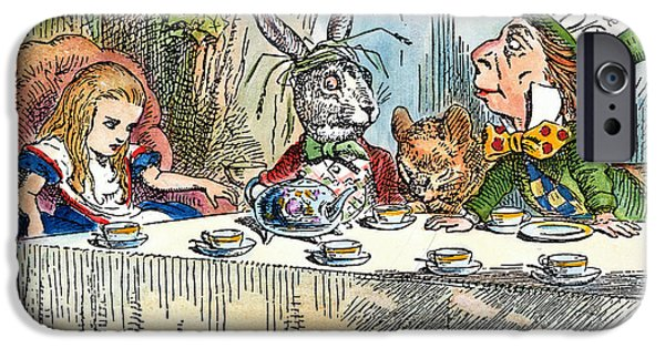 March Hare iPhone Cases - Alices Mad-tea Party, 1865 iPhone Case by Granger