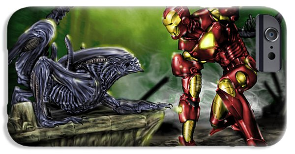 Ironman iPhone Cases - Alien vs Iron Man iPhone Case by Pete Tapang
