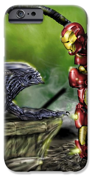 Alien vs Iron Man iPhone Case by Pete Tapang
