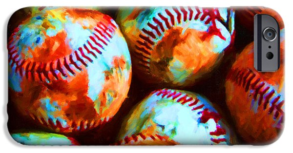 Boston Red Sox iPhone Cases - All American Pastime - Pile of Baseballs - Painterly iPhone Case by Wingsdomain Art and Photography