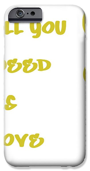 All You Need Is Love Posters iPhone Cases - All you Need is Love - Yellow iPhone Case by Nomad Art And  Design