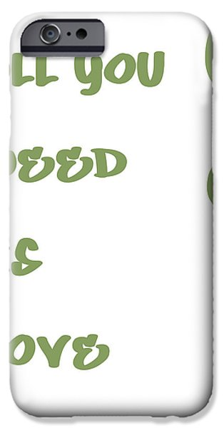 All You Need Is Love Posters iPhone Cases - All you Need is Love - Sage Green iPhone Case by Nomad Art And  Design