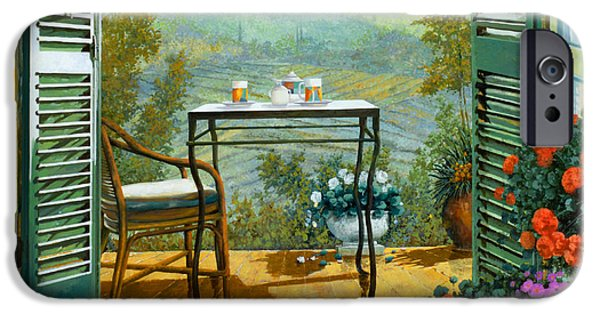 Chair Paintings iPhone Cases - Alle Dieci Del Mattino iPhone Case by Guido Borelli